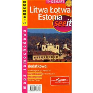 Litwa łotwa estonia mapa sam 1:600 000