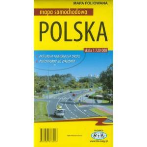 Polska mapa samochodowa foliowana wyd. 2016