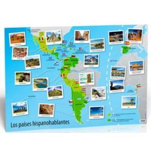 Plakat Los paises hispanohablantes - poster cywilizacyjny - mapa ścienna