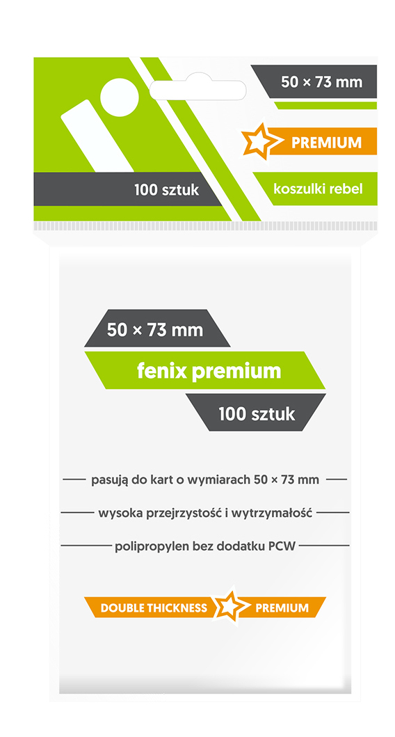 Koszulki na Karty Rebel (50 x 73 mm) Fenix Premium 100 Sztuk