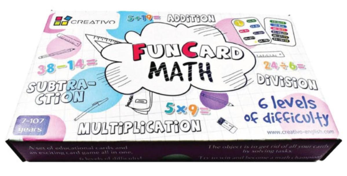 Karty edukacyjne Matematyka Fun Card Math Dodawanie, odejmowanie, mnożenie, dzielenie